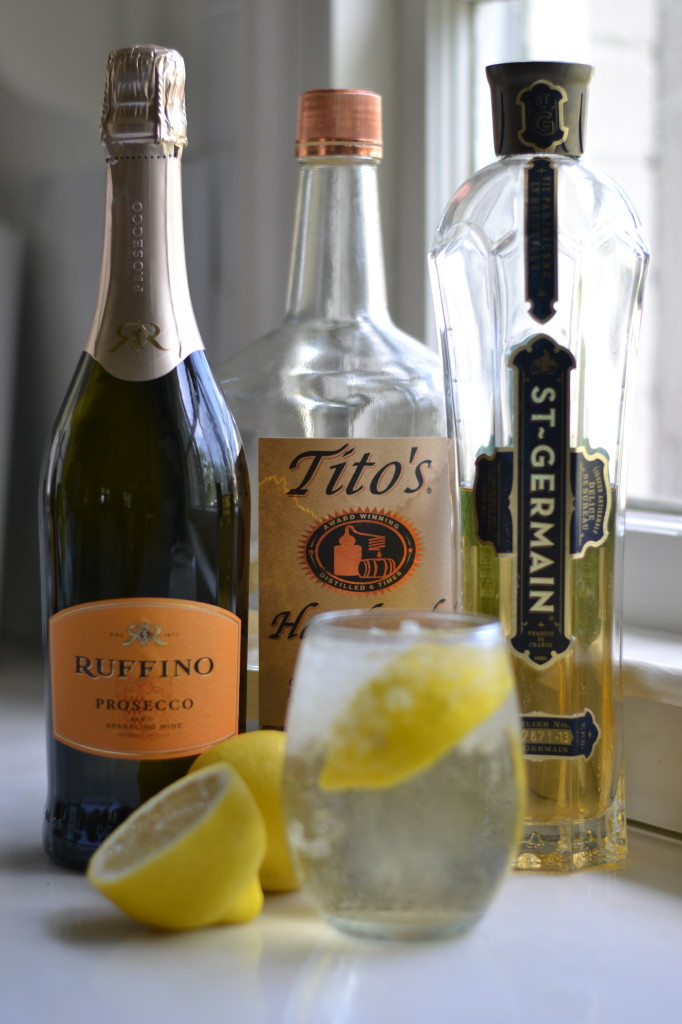 champagne cocktail monograms st germain titos vodka