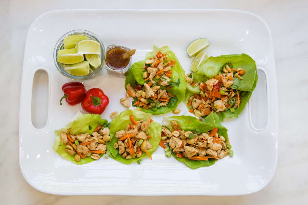 Easy Chicken Lettuce Wraps with TLish Asian Sesame Dressing